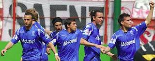 Festejo del gol de Filippetto en el triunfo de Huracán ante Racing