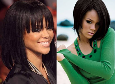 best celebrity hairstyles Rihanna fringe bangs