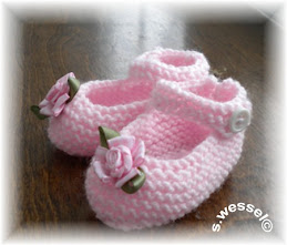 Handknit Mary Jane slippers
