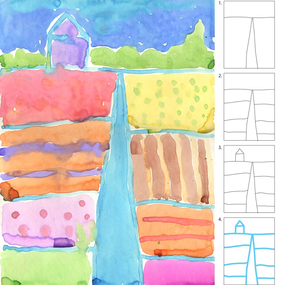 Watercolor landscape art projects for kids for Easy watercolour projects