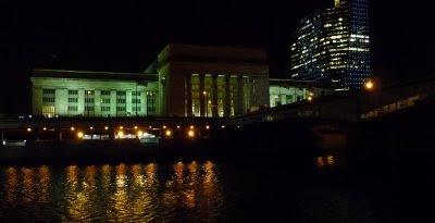 Philadelphia's 30th Street Station at night