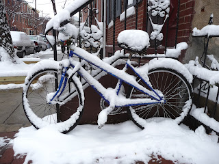 bicycle after snowfall