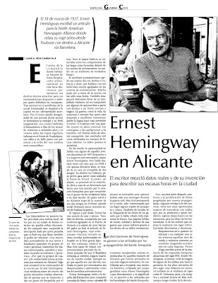 l 18 de marzo de 1937, Ernest Hemingway escribió un artículo donde relataba su viaje aéreo desde Toulouse a Alicante, vía Barcelona