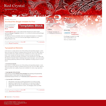 free blogger template convert wordpress theme to blogger Red Crystal blogger template