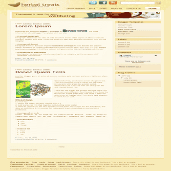free blogger template converted from psd template to blogger template Herbal Treats blogger template