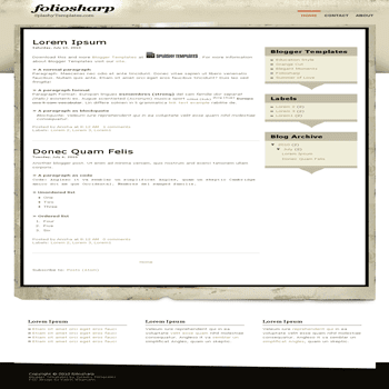 free blogger template convert psd theme to blogger template Foliosharp blogger template