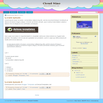 free blogger template Cloud Nine for blogspot template
