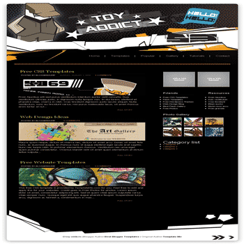 free blogger template converted from css template to blogger template Toy Addicts blogger template