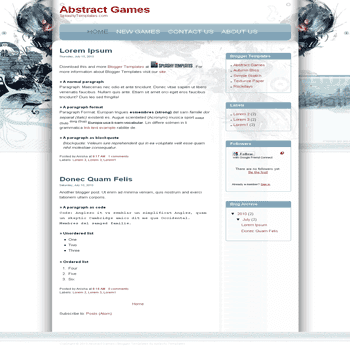 Abstract Games free blogger template for games blogger template
