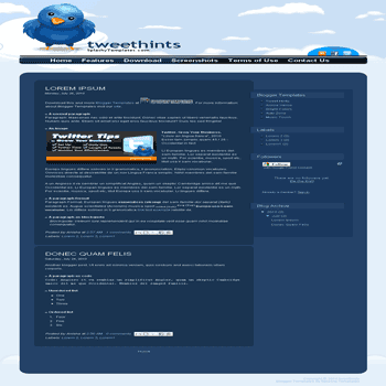 Tweet Hints free blogger template for twitter related blogger template