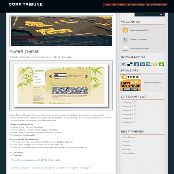 Corp Tribune free blogger template converted from css template to blogger template image slideshow blogger template