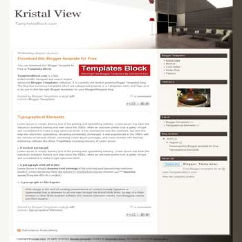 Kristal View free blogger template converted from wordpress theme to blogger for furniture and interior design blogs