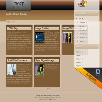 jPost free blogger template convert from wordpress theme to Blogger template for photo blog template