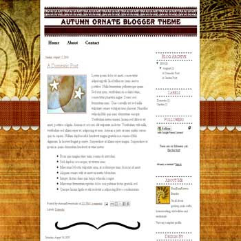 free blogger template Autumn Ornate with artistic background