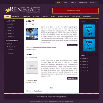 Renegate blogger template convert wordpress theme to blogger template with 3 column blogger template