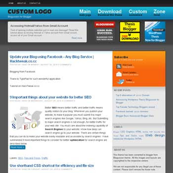free blogger template Thesis Blogussion converted from wordpress theme to blogger with 3 column footer blogger template