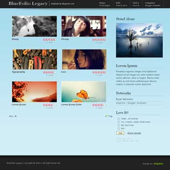BlueFolio V2 (Legacy) free blogger template for photo blog template