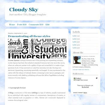 Cloudy Sky free blogger template with 2 column and css3 style blogger template