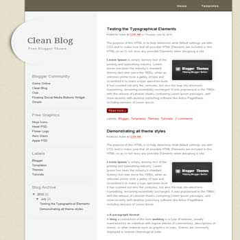 Clean Blog free blogger template adapted from css template to blogger template with clean template