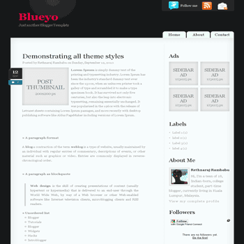 Blueyo blogger template with 2 column and css3 style blogger template