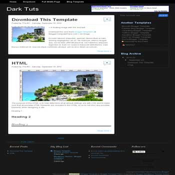 free Dark Tuts blogger template convert from wordpress theme to blogger template with 4 column footer blogger template