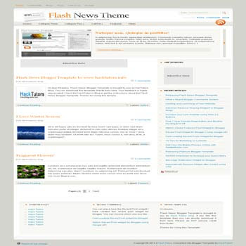 free Flash News blogger template converted from wordpress theme to blogger template with image slideshow and pagination for blogger ready