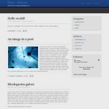 Obscorp blogger template convert from wordpress theme to blogger with 4 column footer blogger template