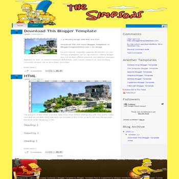 the simpson blogger template for cartoon blogger template