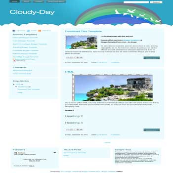 free Cloudy Day blogger template convert from wordpress theme to blogger template with 3 column footer template
