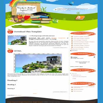 free back to school blogger template converted from wordpress theme to blogger template