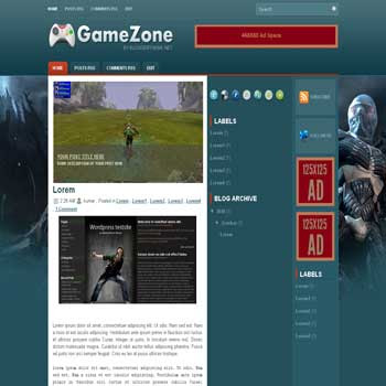 Game Zone blogger template convert wordpress theme to blogger template with slideshow featured content for games blog