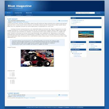 free Blue Magazine blogger template for profesional blogger template