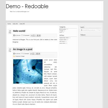 Redoable blogger template convert from wordpress theme to blogger with 3 column blogger template and drp down menu for blogger ready
