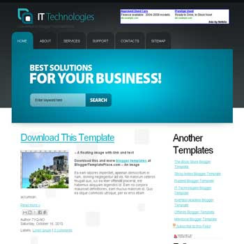 free IT Technologies blogger template converted from css template to blogger template