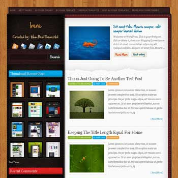 Irene blogger template converted from wordpress theme to blogger template with feature content blogger template
