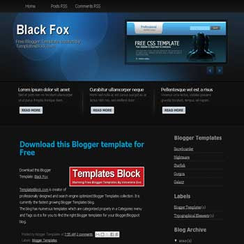 free Black Fox blogger template converted from wordpress theme to blogger template with image slider template blog