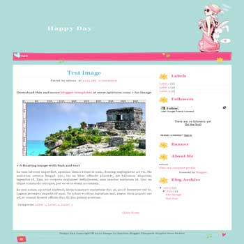 Happy Day blogger template for personal blog template with cute background