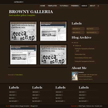 Browny Galleria blogger template magazine style blogger template for gallery blog template