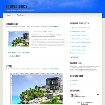 free Equivalency blogger template converted from css template to blogger template for blogspot template blog