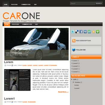 CarOne blogger template convert wordpress theme to blogger template with image slideshow blogger template