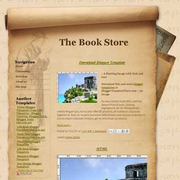 The Book Store blogger template converted from css template to blogger template with paper background template