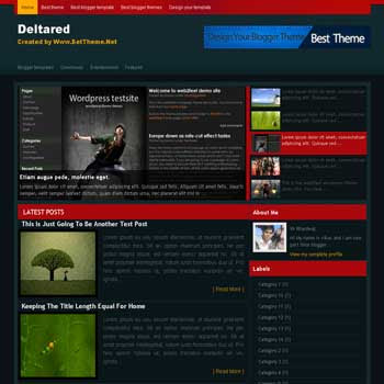 Delta Red blogger template converted from wordpress theme to blogger template with feature content blogger template and 4 column footer blogger template