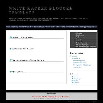 White Hacker blogger template with 2 blogger template
