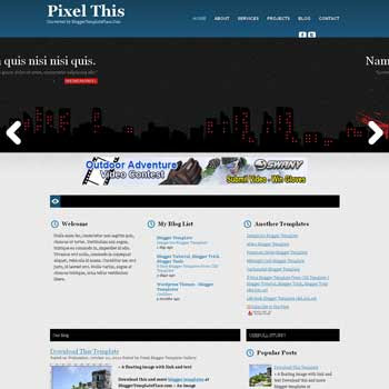 Pixel This blogger template magazine style converted from wordpress theme to blogger template with image slide show template blog and ads ready blog template