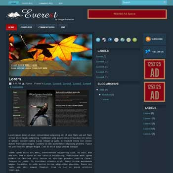 Everest blogger template convert wordpress theme to blogger template. This template is ads ready template blog