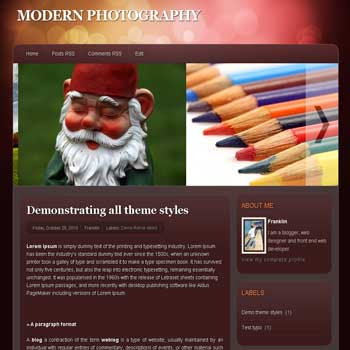 Modern Photography blogger template for photography blogger template with 3 column footer template blog