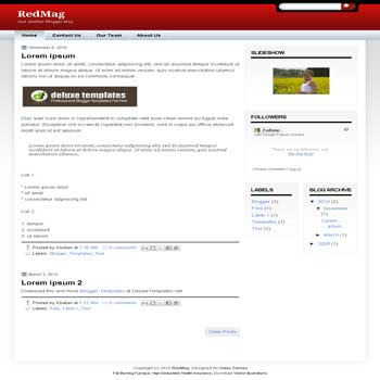 RedMag blogger template with 3 column blogger template. 3 column blogspot template