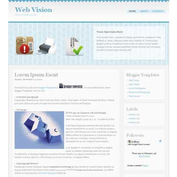 Web Vision blogger template. blogger template from css template. css template to blogger. convert css template to blogger