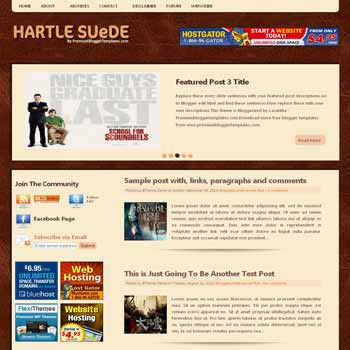 Hartle Suede blogger template with image slideshow template and pagination for blogger ready. 3 column footer blogger template