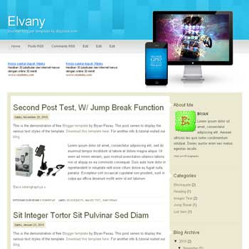 elvany blogger template with 2 column blogger template